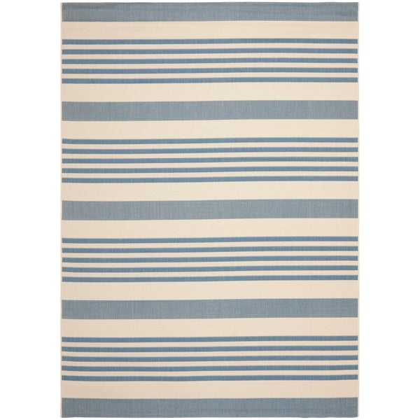 Safavieh Courtyard Stripe Beige Blue Indoor Outdoor Rug