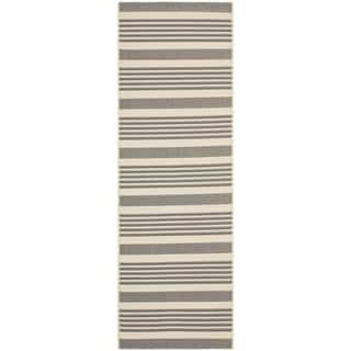 Safavieh Indoor/ Outdoor Courtyard Grey/ Bone Rug (2'3 x 10')