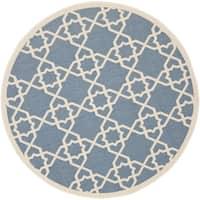 Safavieh Courtyard Geometric Trellis Blue/ Beige Indoor/ Outdoor Rug - 7'10 Round