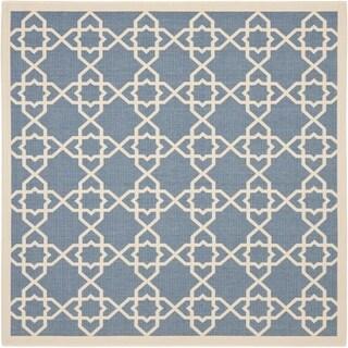 Safavieh Courtyard Geometric Trellis Blue/ Beige Indoor/ Outdoor Rug (7'10 Square)