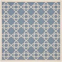 Safavieh Courtyard Geometric Trellis Blue/ Beige Indoor/ Outdoor Rug - 7'10 Square