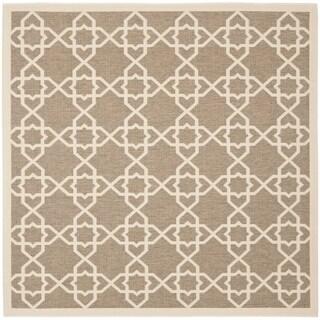 Safavieh Courtyard Geometric Trellis Brown/ Beige Indoor/ Outdoor Rug (7'10 Square)