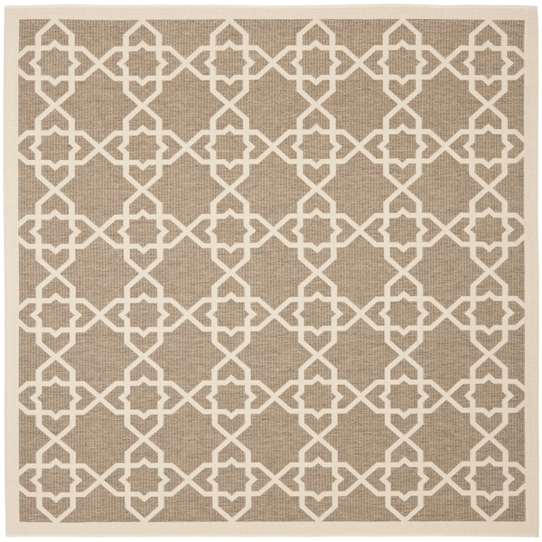 Safavieh Courtyard Geometric Trellis Brown/ Beige Indoor/ Outdoor Rug (7'10 Square)