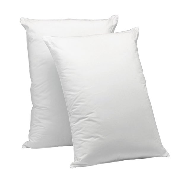 AllerEase 100% Cotton Corded Pillow, 2 Pack - White