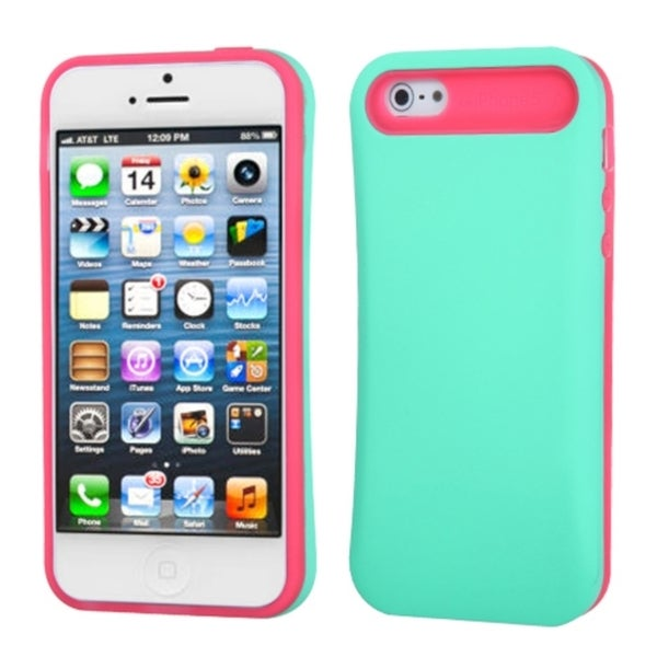 INSTEN Teal Green/ Hot Pink Wallet Phone Case Cover for Apple iPhone 5