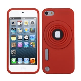 Insten Red 3D Camera Style Soft Silicone Skin Rubber Case Cover Lanyard with Stand For Apple iPod Touch 5th/ 6th Gen
