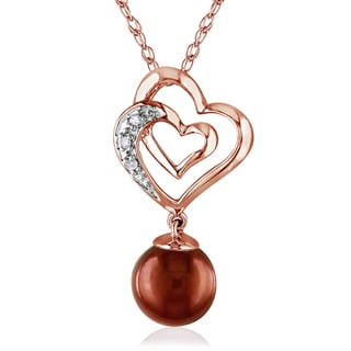 Miadora 10k Rose Gold Cultured Freshwater Pearl and Diamond Heart Necklace (7-7.5 mm)