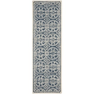 Safavieh Handmade Cambridge Moroccan Navy Blue/ Ivory Rug (2'6 x 22')