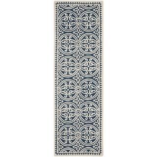 Safavieh Handmade Cambridge Moroccan Navy Blue/ Ivory Rug (2'6 x 18')|https://ak1.ostkcdn.com/images/products/8060165/8060165/Safavieh-Handmade-Moroccan-Cambridge-Navy-Blue-Ivory-Wool-Rug-26-x-18-P15416717.jpg?impolicy=medium
