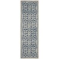Safavieh Handmade Cambridge Moroccan Navy Blue/ Ivory Rug - 2'6 x 18'
