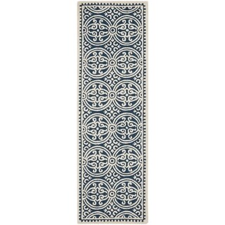 Safavieh Handmade Cambridge Moroccan Navy Blue/ Ivory Rug - 2'6 x 16'
