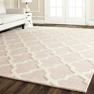 Safavieh Handmade Moroccan Cambridge Light Pink/ Ivory Wool Rug (10' x 14')