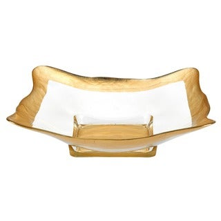 Square Authentic Gold Leaf Decor 16-inch Glass Serving Bowl