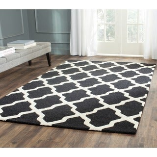 Safavieh Handmade Moroccan Cambridge Black/ Ivory Wool Rug (11' x 15')