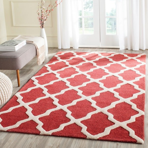Safavieh Handmade Moroccan Cambridge Rust/ Ivory Wool Rug (9' x 12')