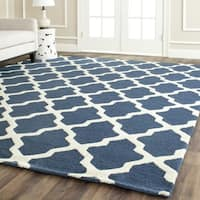 Safavieh Handmade Moroccan Cambridge Navy Blue/ Ivory Wool Rug - 10' x 14'