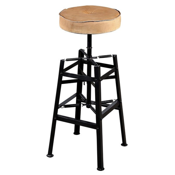 Spring Iron and Leather Barstool (India)