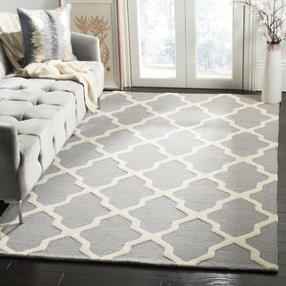 Safavieh Handmade Moroccan Cambridge Silver/ Ivory Wool Rug (4' Square)