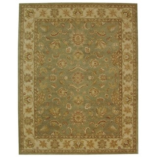 Safavieh Hand-made Antiquity Green/ Gold Wool Rug (11' x 15')