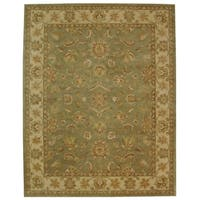 Safavieh Hand-made Antiquity Green/ Gold Wool Rug - 11' x 15'