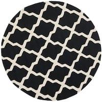 Safavieh Handmade Moroccan Cambridge Black/ Ivory Wool Rug - 4' Round