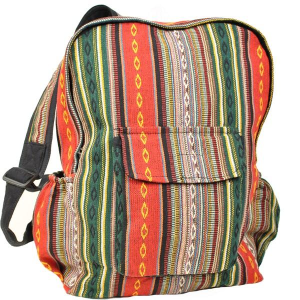 Green Illusion Boho Cotton Backpack (Nepal)