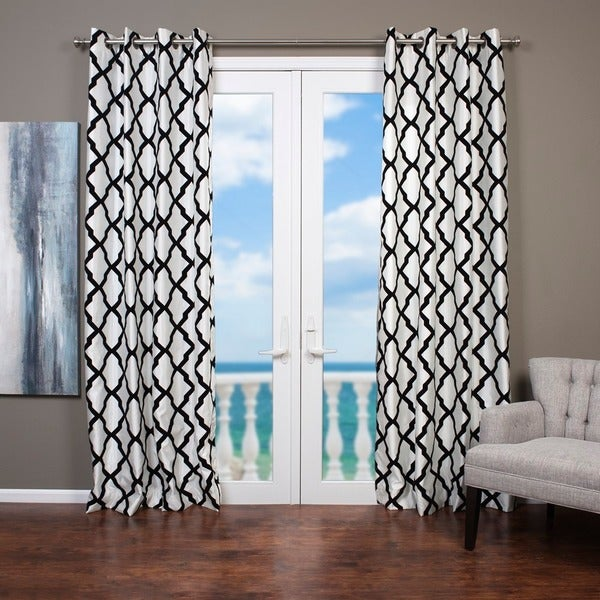 Trellis Bold Flocked Curtain Panel