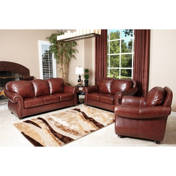 Abbyson Living Houston Semi Aniline Leather Sofa Loveseat And Armchair