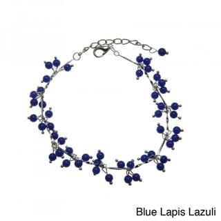 Handmade Lapis Lazuli or Green Jade Beaded Anklet (China)