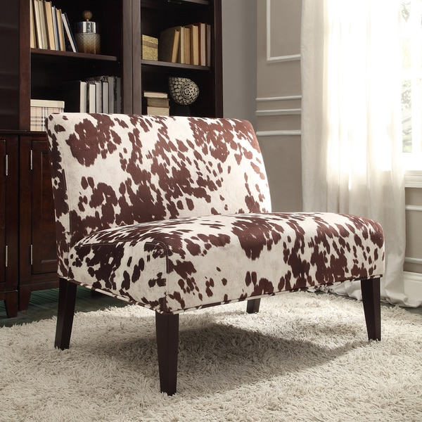 Wicker Park Brown Faux Cow Hide Fabric 2-seater Accent Loveseat by iNSPIRE Q Bold