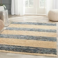 Safavieh Hand-knotted Bohemian Natural/ Blue Wool Rug - 4' x 6'