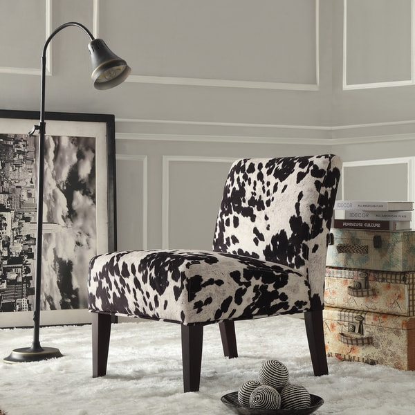 Shop Black And White Faux Cow Hide Fabric Accent Chair By