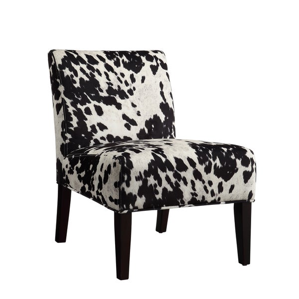 Perfect Black And White Faux Cow Hide Fabric Accent Chair By INSPIRE Q Bold   Free  Shipping Today   Overstock.com   15416949