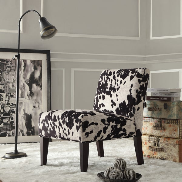 Nice Black And White Faux Cow Hide Fabric Accent Chair By INSPIRE Q Bold