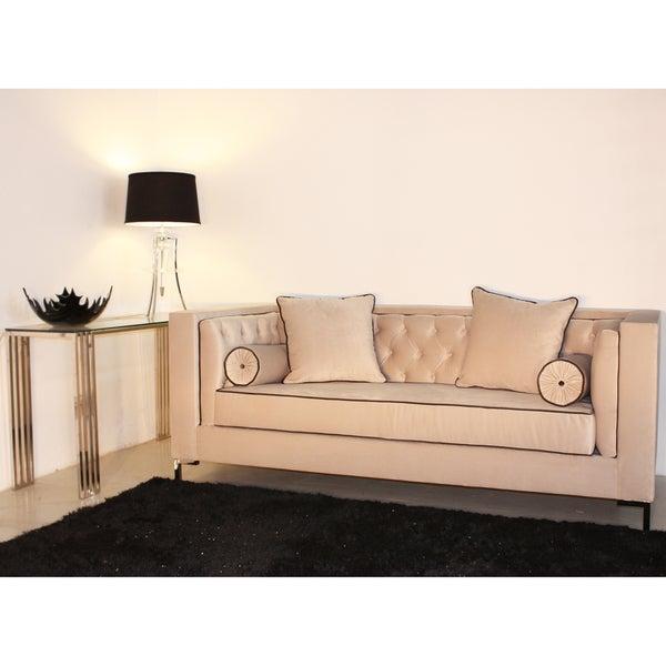Decenni Custom Furniture 'Tobias' Dove Grey Tufted 8-foot Loveseat