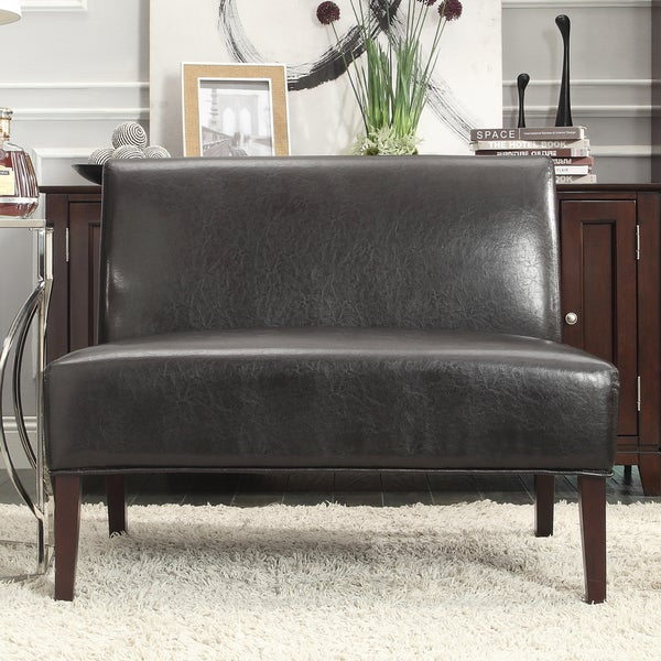Shop Wicker Dark Brown Faux Leather 2 Seater Accent