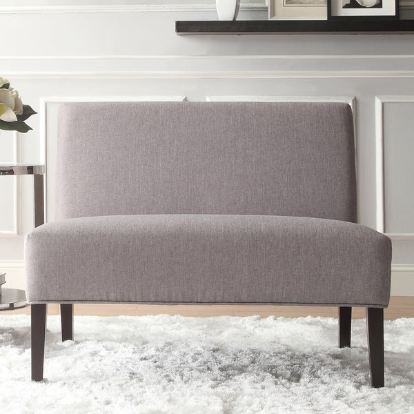 Wicker Grey Linen 2-seater Armless Accent Loveseat by INSPIRE Q