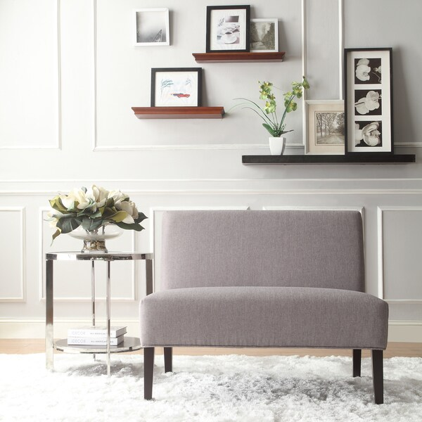 wicker grey linen 2seater armless accent loveseat by inspire q bold free shipping today