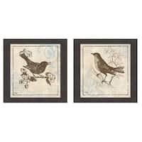Elizabeth Medley 'Bird Woodcut I & II' Framed Art Print