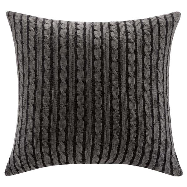 Woolrich Williamsport Grey Knitted 26 x 26-inch Euro Sham with Hidden Zipper Closure