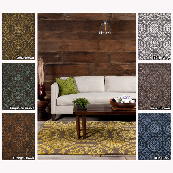 Artist's Loom Hand-tufted Contemporary Geometric Wool Rug (5'x7'6) - 5' x 7'6