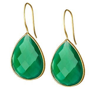 Handmade Saachi 18k Gold Faceted Single Pear Drop Gemstone Earrings (India) (Option: Chalcedony)