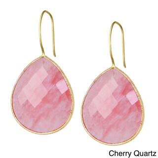 Saachi 18k Gold Faceted Single Pear Drop Gemstone Earrings (India)