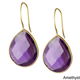 Saachi 18k Gold Faceted Single Pear Drop Gemstone Earrings (India)