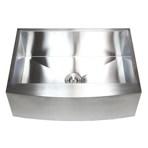 Farmhouse Stainless Steel Single-bowl Curve Apron Undermount Kitchen Sink