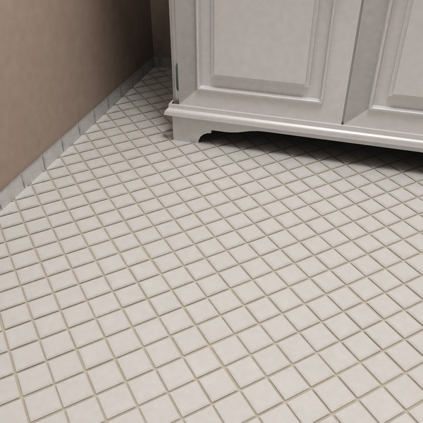 SomerTile 12.25x12.25-inch Victorian Quad Glossy White Porcelain Mosaic Floor and Wall Tile (Case of