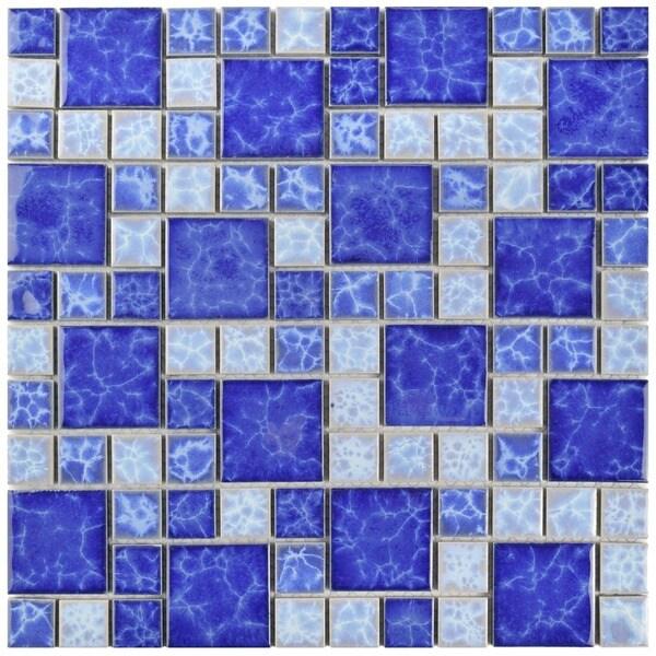 SomerTile 11.75x11.75-inch Watermark Versailles Adriatic Porcelain Mosaic Floor and Wall Tile (Pack