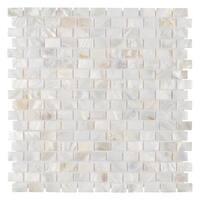 SomerTile 11.75x11.75-inch Seashell Subway White Natural Seashell Mosaic Wall Tile (10 tiles/9.6 sqft.)