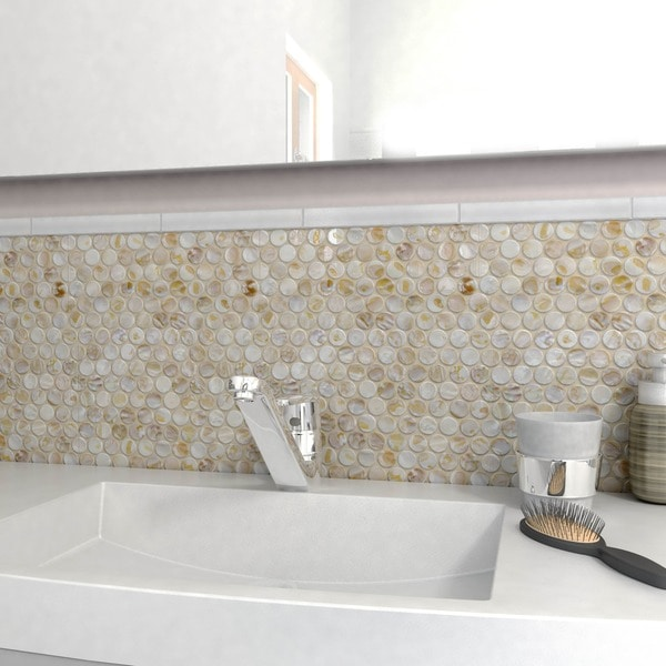 Seashell Backsplash Tile: SomerTile 11.25x11.625-inch Seashell Penny Natural
