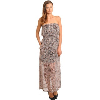 Stanzino Women's Multi-print Semi Sheer Strapless Maxi Dress with Cinched Waist